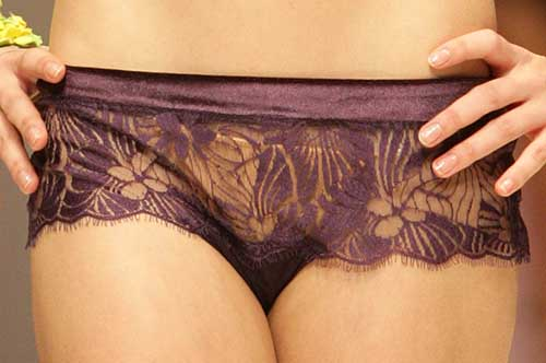 Valery: Velvet purple Brazilian brief.