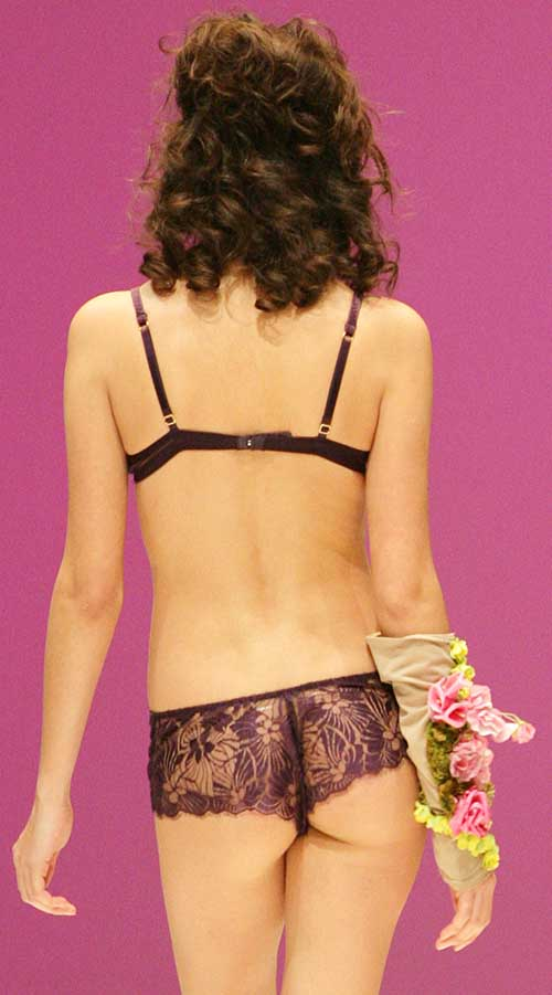 Valery: Velvet purple bra and Brazilian brief.