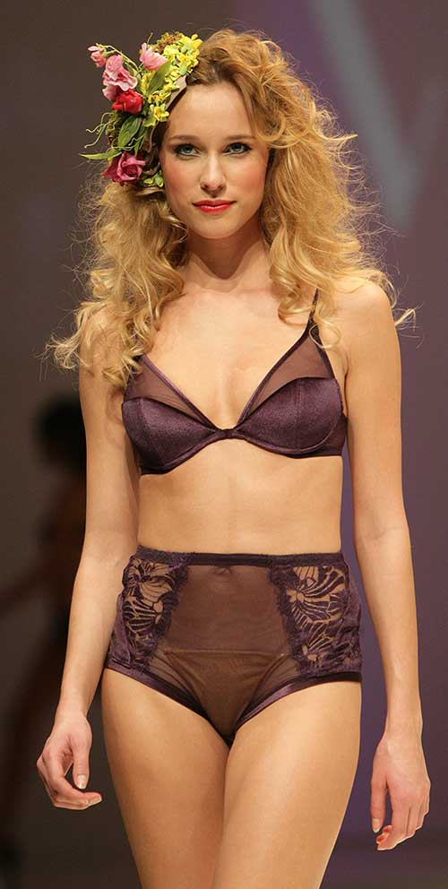 Valery: Velvet purple bra and suspender brief.