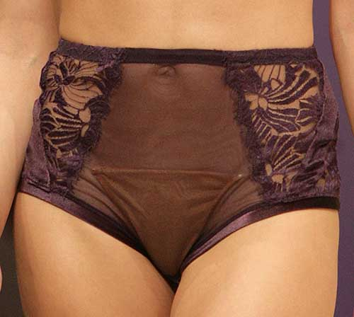 Valery: Velvet purple suspender brief.