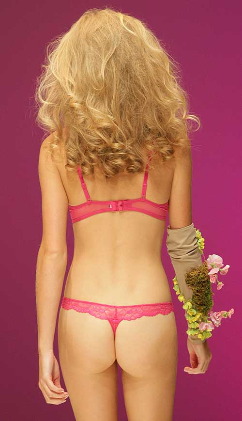 Chantelle: Pink bra and brief.